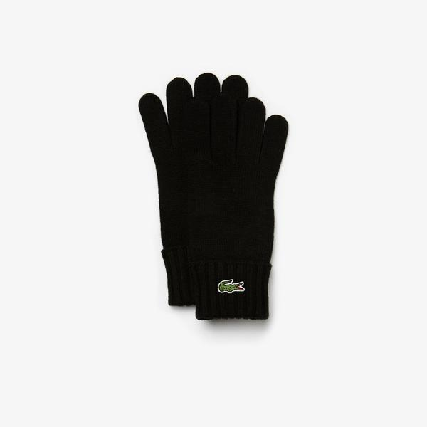Lacoste Men's Embroidered Crocodile Wool Gloves