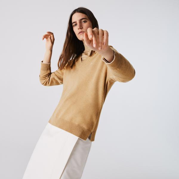 Lacoste Women's V-neck Wool Sweater
