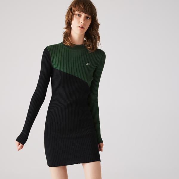 Lacoste Women's LIVE Two-Tone Ribbed Cotton And Cashmere Dress