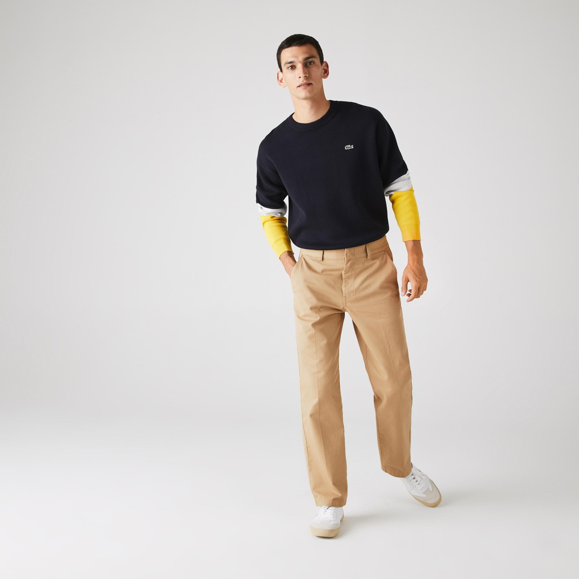 Lacoste Men's LIVE Standard Fit Pleated Cotton Chino Pants