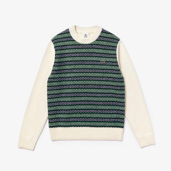 Lacoste Unisex LIVE Jacquard Motif Wool Blend Crew Neck Sweater