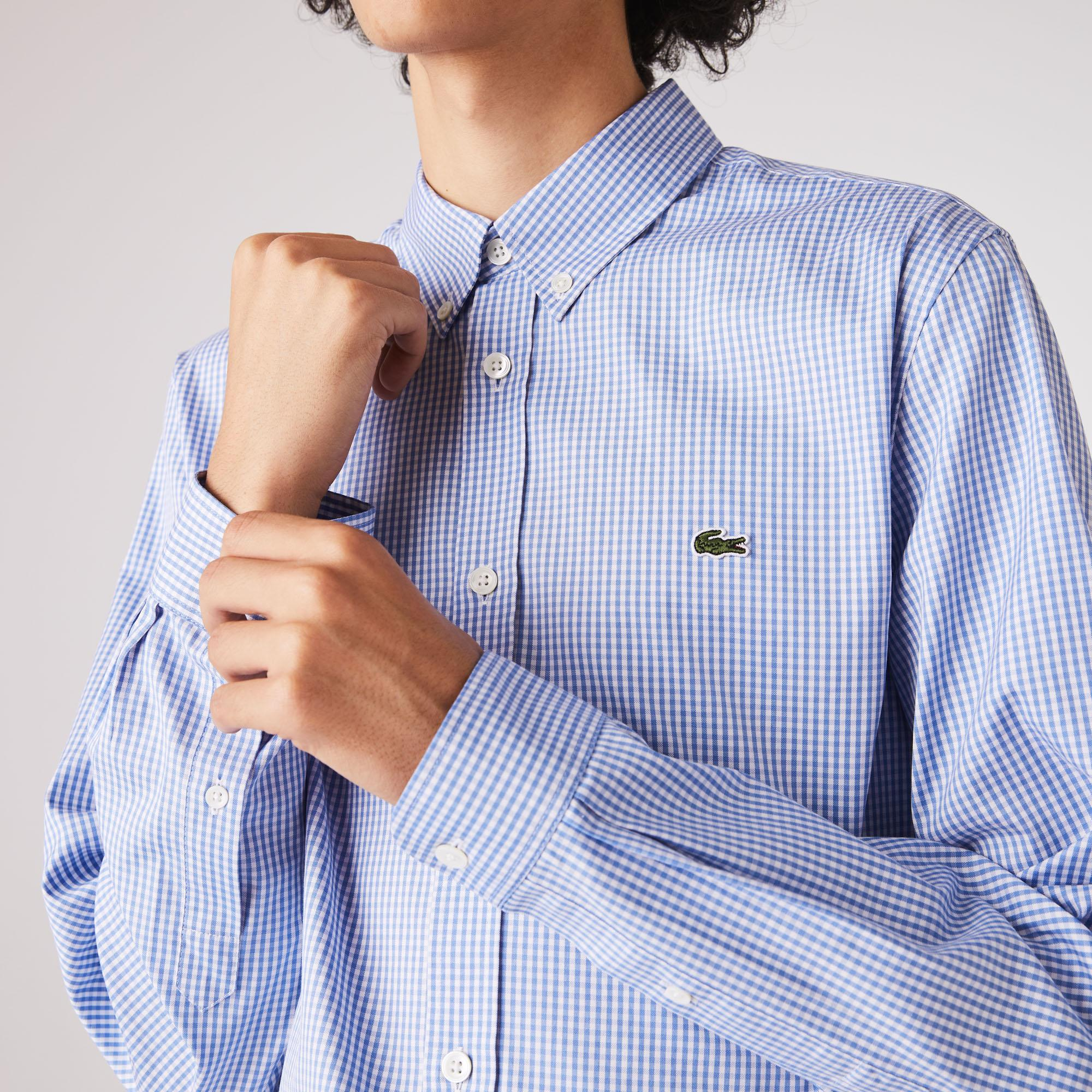 Lacoste Men's Regular Fit Checkered Premium Cotton Shirt