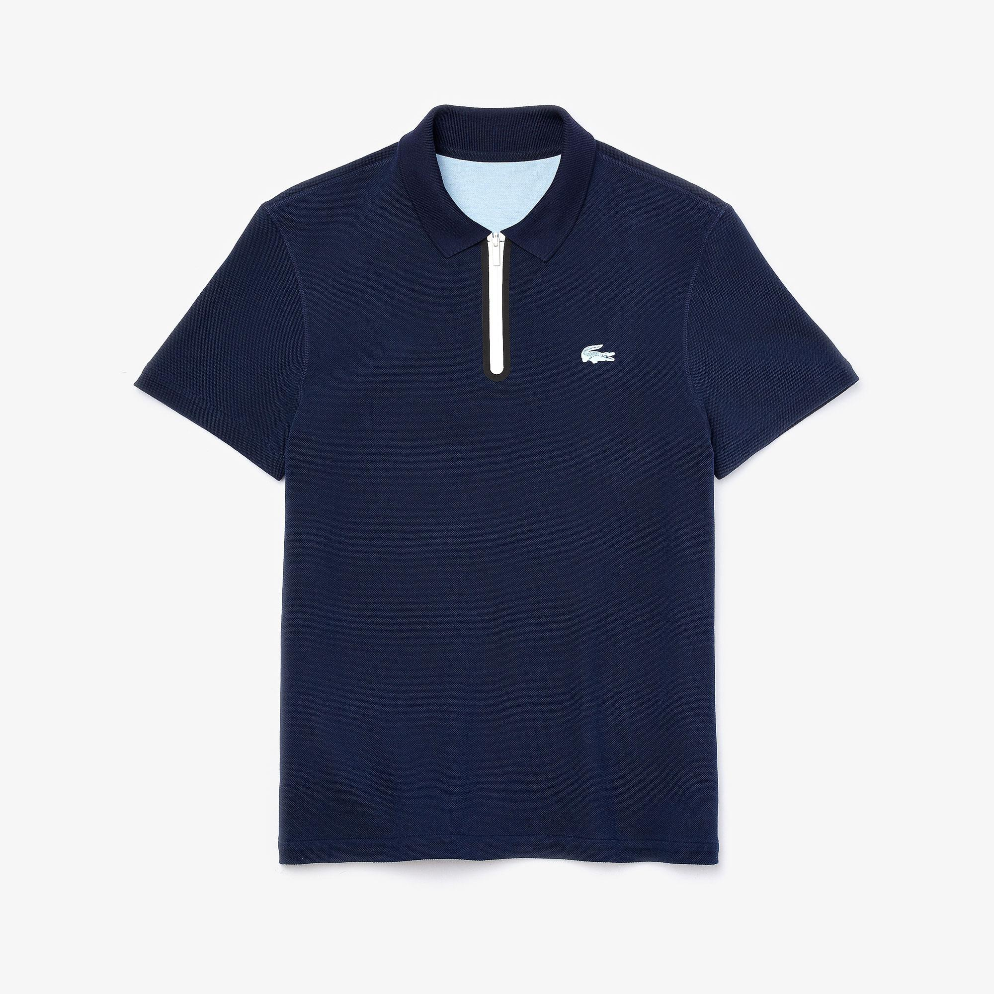 Lacoste Men's Zippered Collar Regular Fit Reversible Piqué Polo