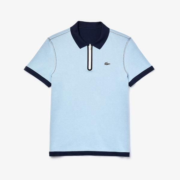 Lacoste Men's Zippered Collar Regular Fit Reversible Piqué Polo
