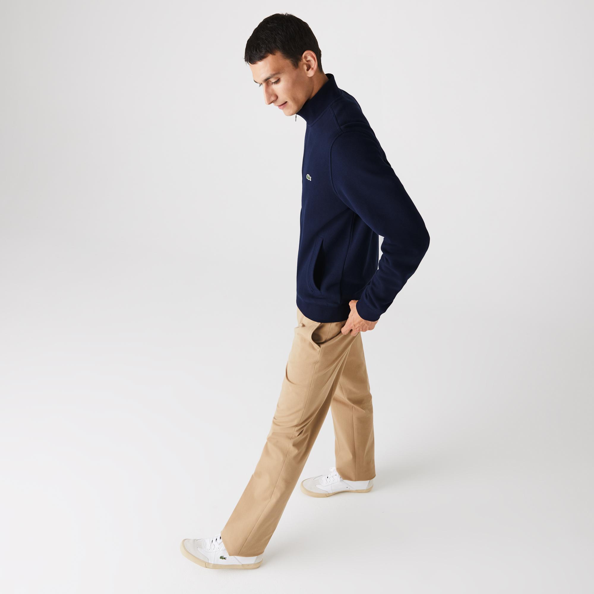 Lacoste Men's Zippered Stand-Up Collar Piqué Fleece Jacket