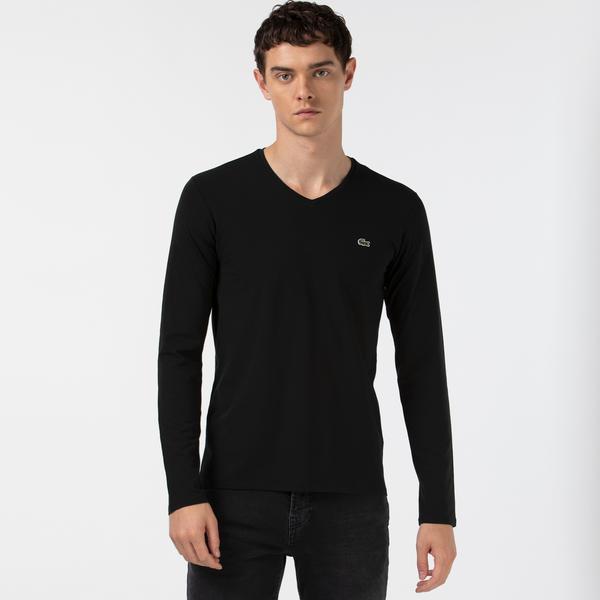Lacoste Men's V Neck Long Sleeve Black T-shirt