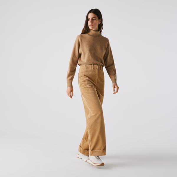 Lacoste Women's LIVE High-Waisted Loose Ribbed Velvet Pants