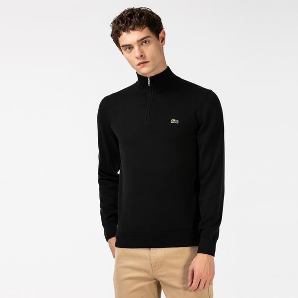 Lacoste Men's Zippered Neck Organic Cotton Sweater
