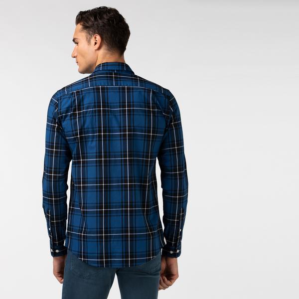 Lacoste Men's Regular Fit Stretch Cotton Poplin Checkered Shirt