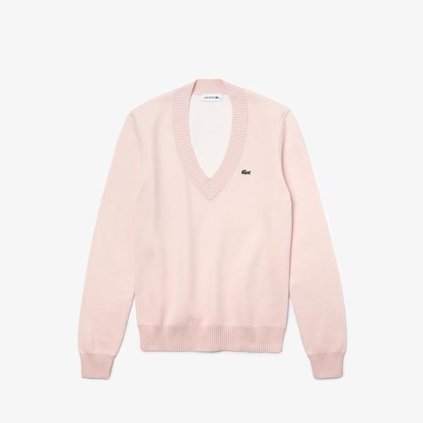 Lacoste Women's V-neck Organic Cotton Sweater