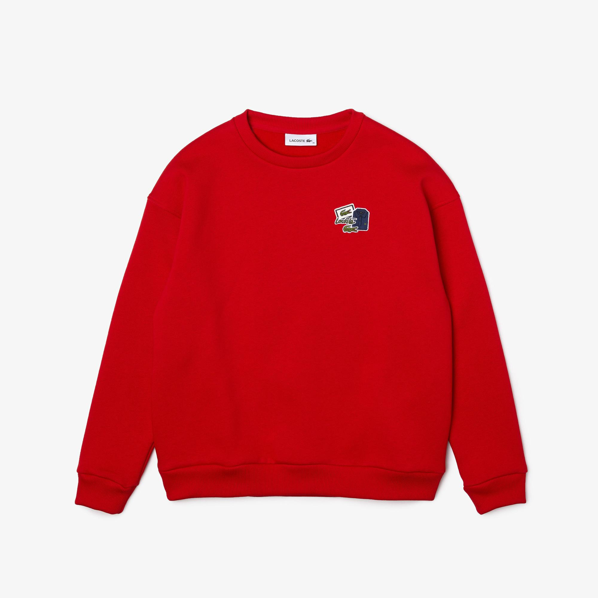 Lacoste Women's Crew Neck Badge Fleece Sweatshirt