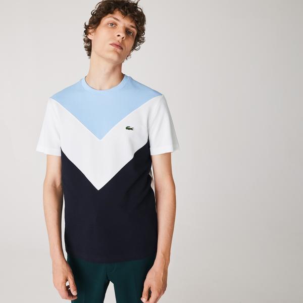 Lacoste Men's Crew Neck Colorblock Cotton Piqué Blend T-shirt
