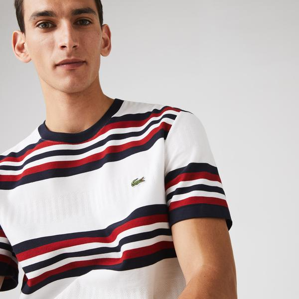Lacoste Men's Made in France Tricolor Striped Cotton T-Shirt