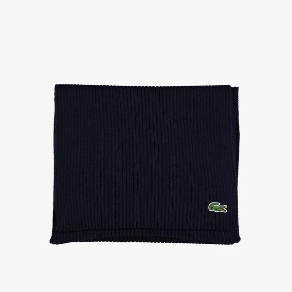 Lacoste Men's Ribbed Rectangular Wool Scarf