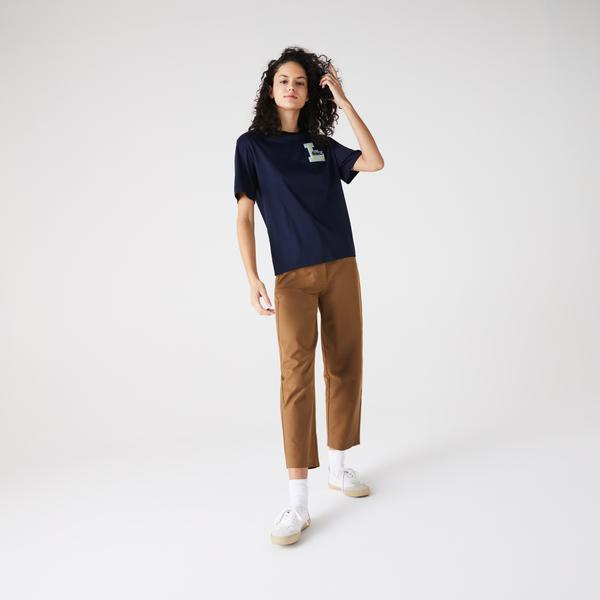 Lacoste Women's Crew Neck University-Style Badge Cotton T-Shirt