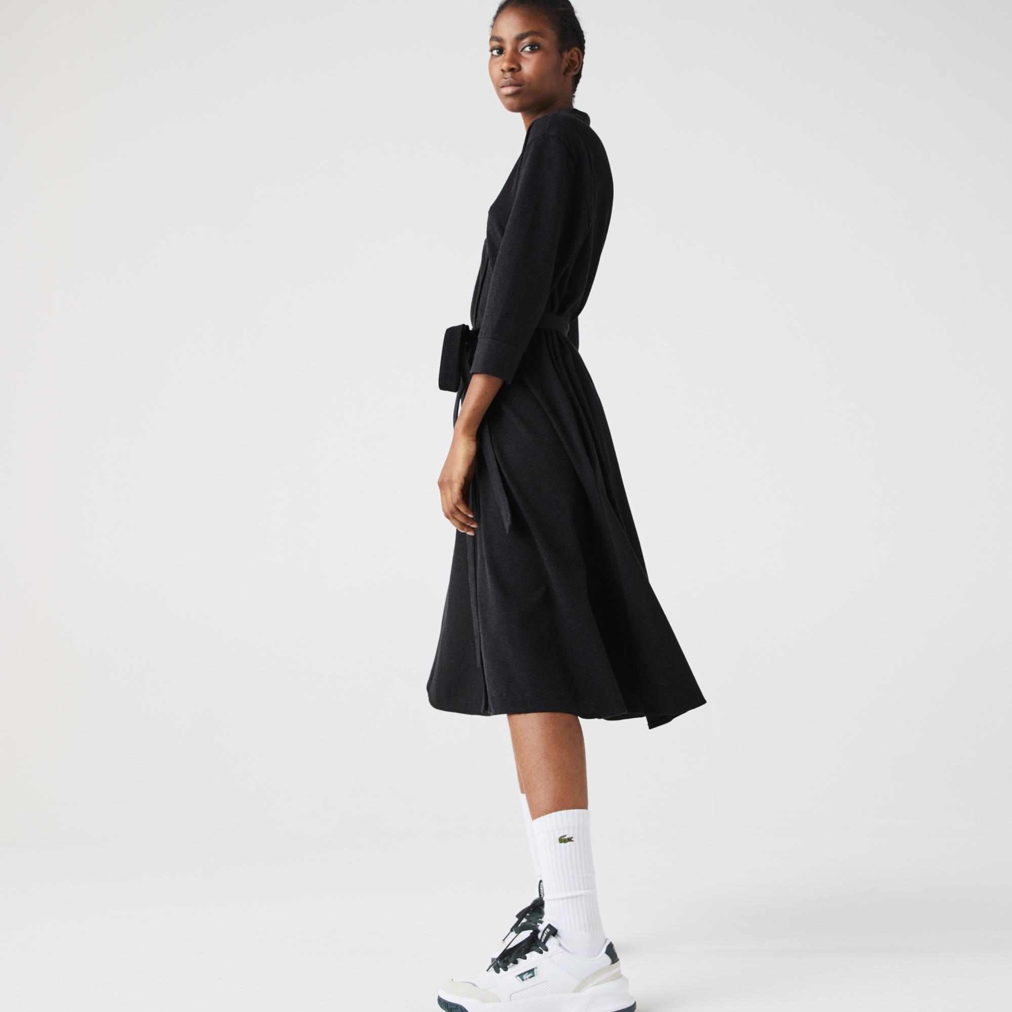 Lacoste Women's Buttoned Belted Cotton Piqué Polo Dress