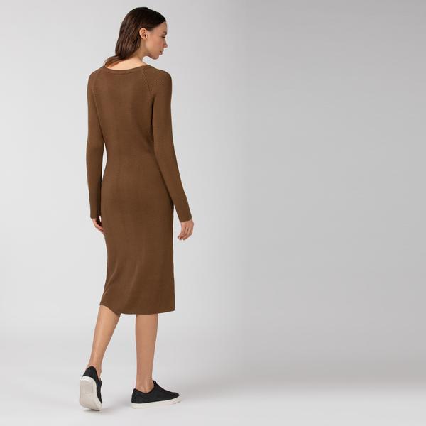 Lacoste Women's Long Ribbed Wool Blend Sweater Dress