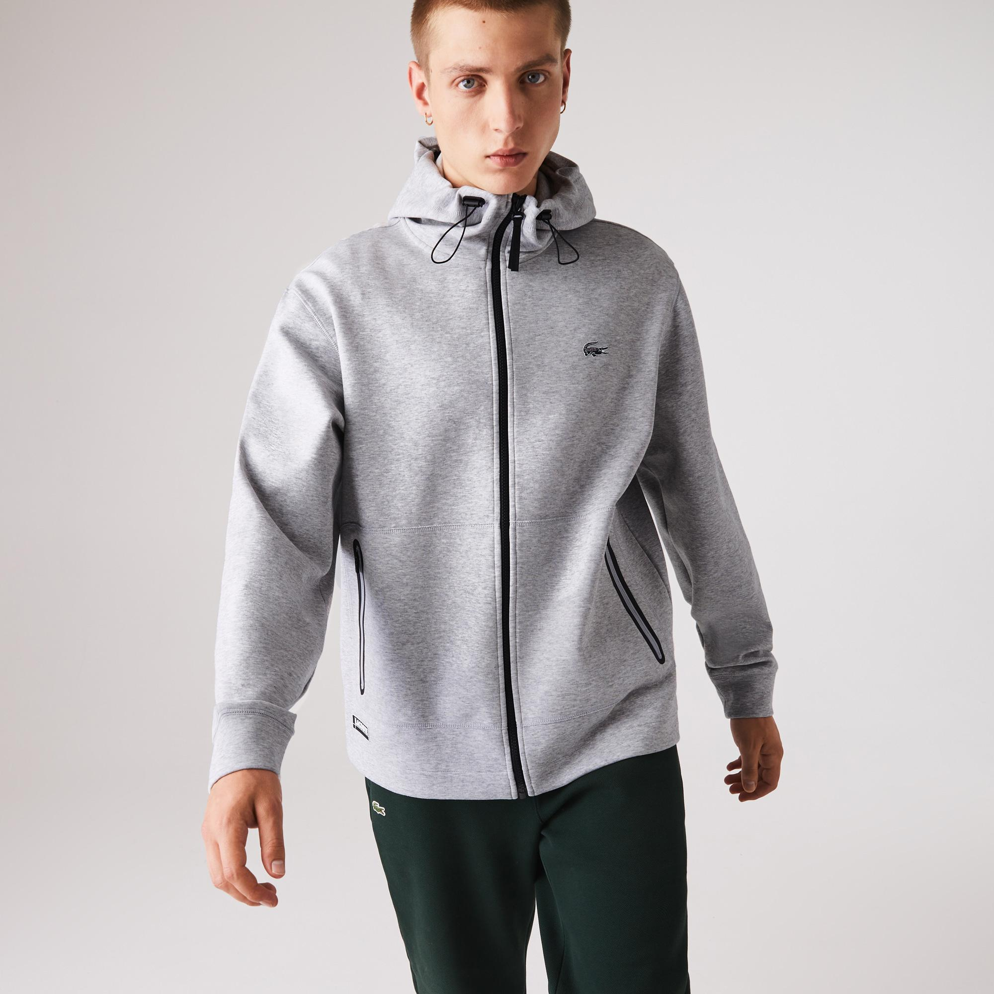 Lacoste Men's Branded Hooded Zippered Jacket With Badge