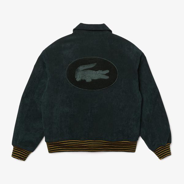 Lacoste L!VE Unisex Golden Embroidery Ribbed Velvet Teddy Jacket