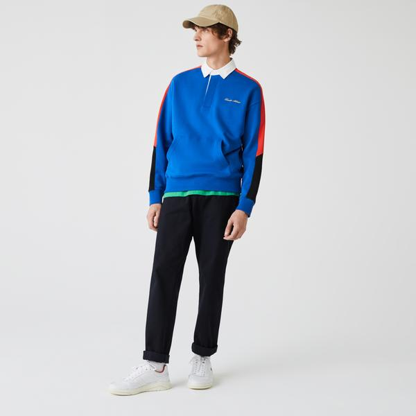 Lacoste Men's LIVE Colorblock Fleece Polo Shirt Sweatshirt