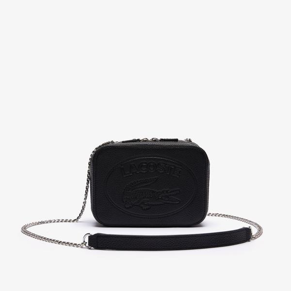 Lacoste Women's Croco Crew Grained Leather Zip Shoulder Bag