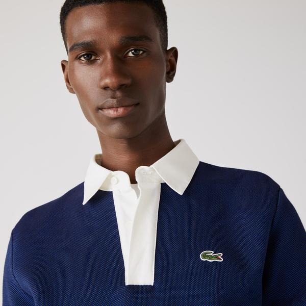 Lacoste Men's Contrast Neck And Stripes Rugby Sweater