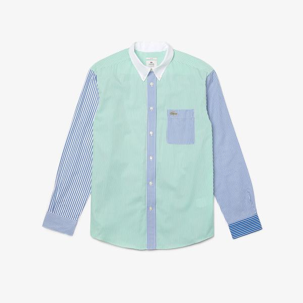 Lacoste L!VE Unisex Relaxed Fit Striped Cotton Shirt