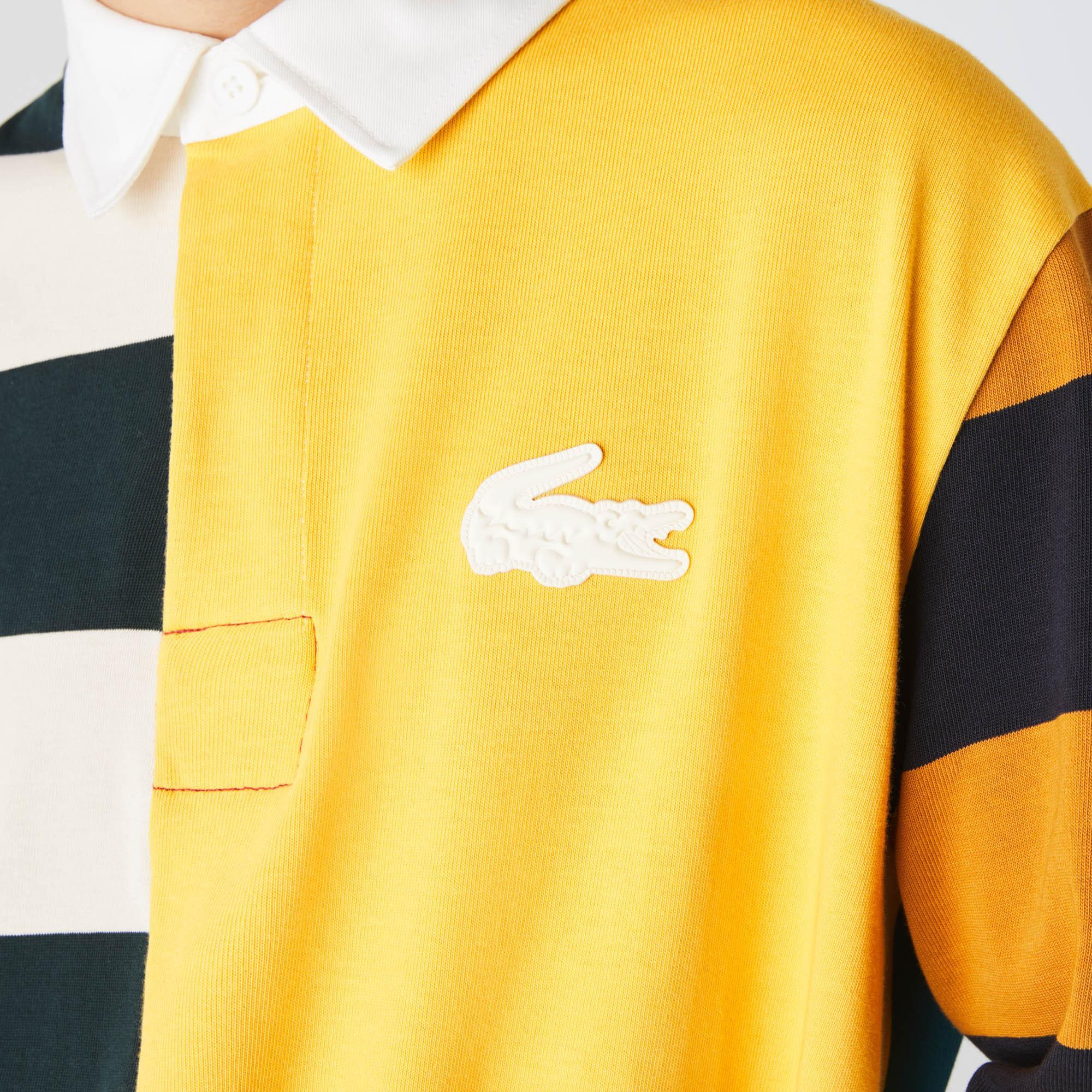 Lacoste L!VE Men's Loose Fit Colourblock Cotton Rugby Style Polo Shirt