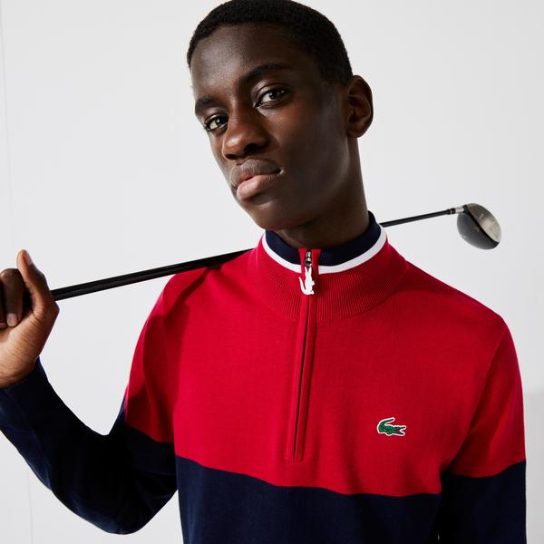 Lacoste SPORT Men's Trucker Neck Bicolour Knit Golf Sweater