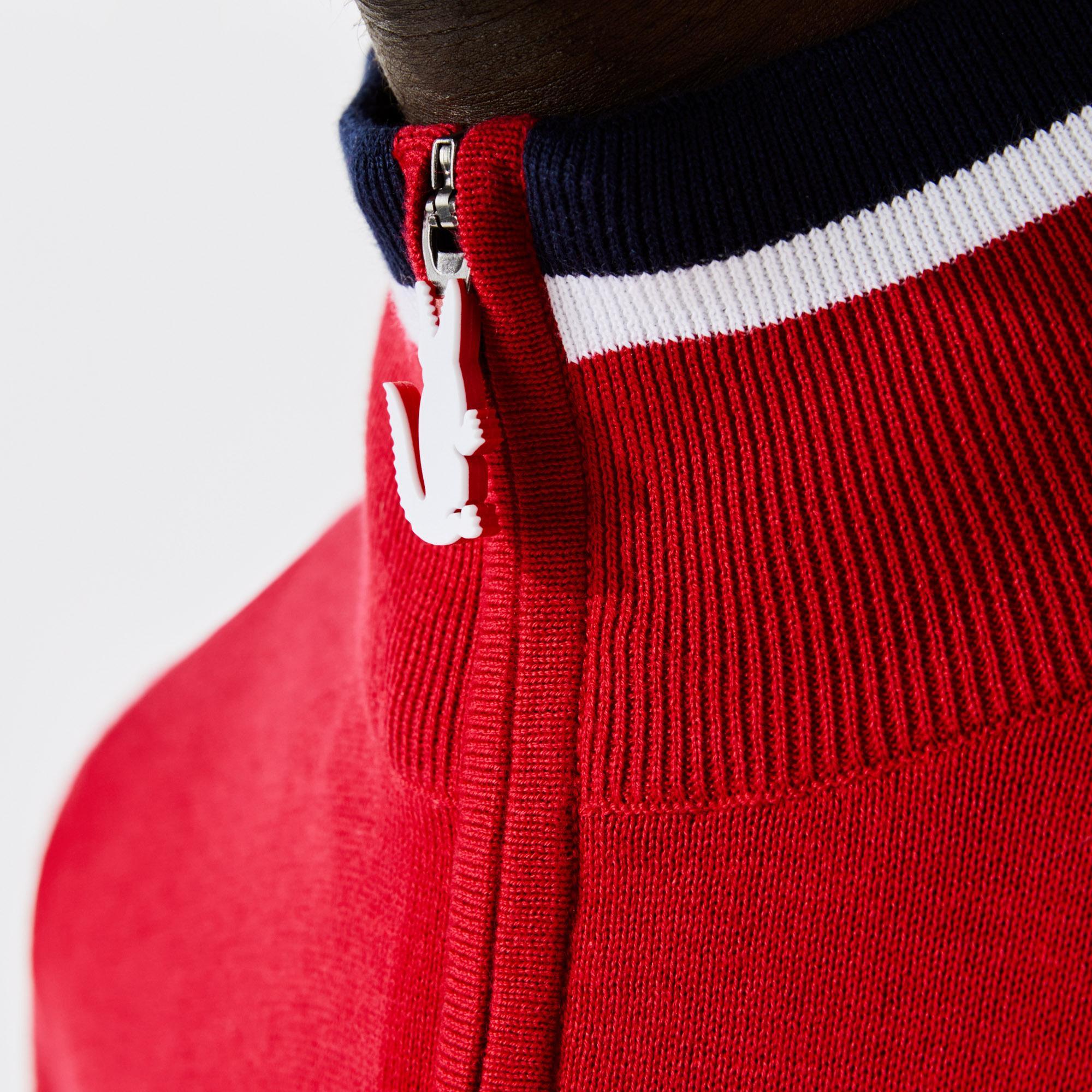 Lacoste SPORT Men's Trucker Neck Bicolour Knit Golf Sweater