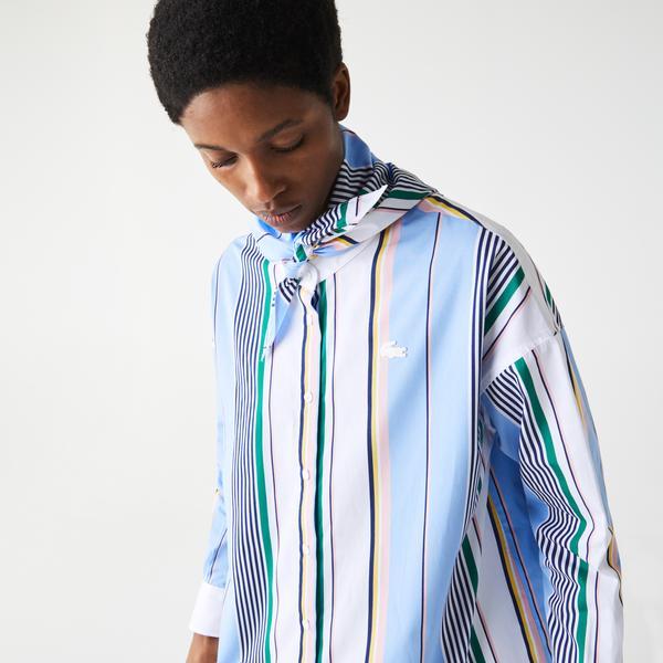 Lacoste LIVE Women's Classic Fit Scarf Neck Striped Cotton Shirt