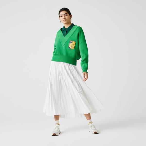 Lacoste Women's LIVE V-Neck Blazon Patch Sweater