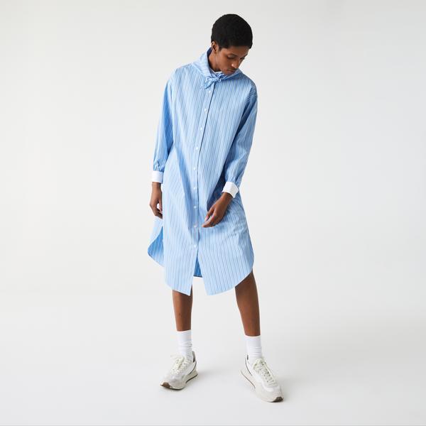 Lacoste LIVE Women's Loose Fit Striped Cotton Poplin Shirt Dress