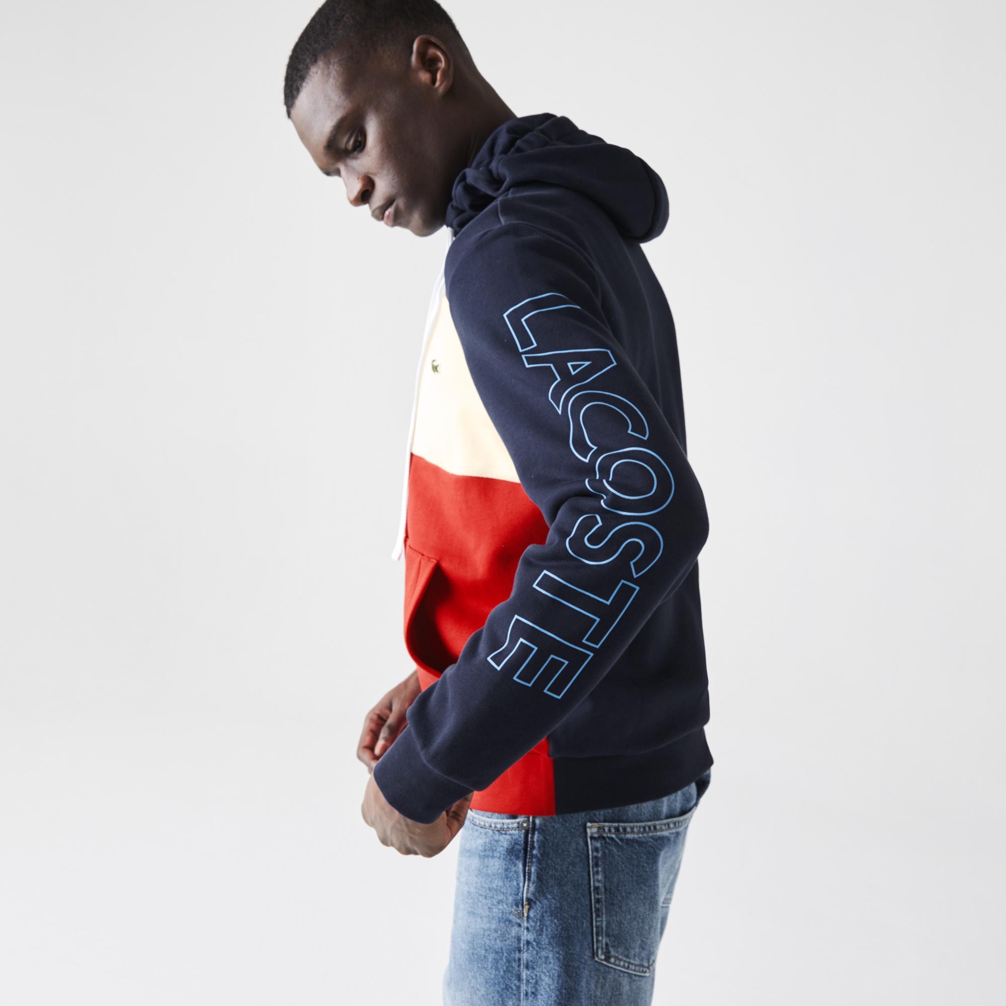 Lacoste Men's Hooded Colorblock Fleece Zip Sweatshirt