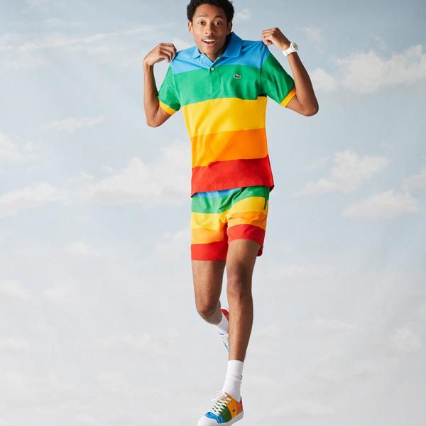 Lacoste x Polaroid Men's Colour Striped Classic Fit Polo Shirt