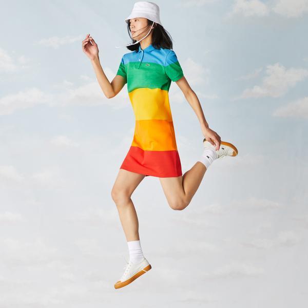 Lacoste x Polaroid Women's Striped Cotton Piqué Polo Dress