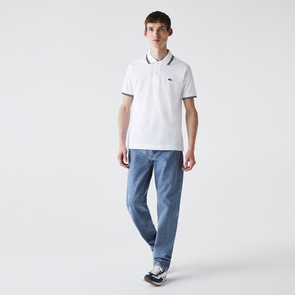 Lacoste Men's Classic Fit Striped Accents Cotton Piqué Polo