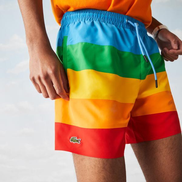 Lacoste Men's x Polaroid Colour Striped Swimming Trunks