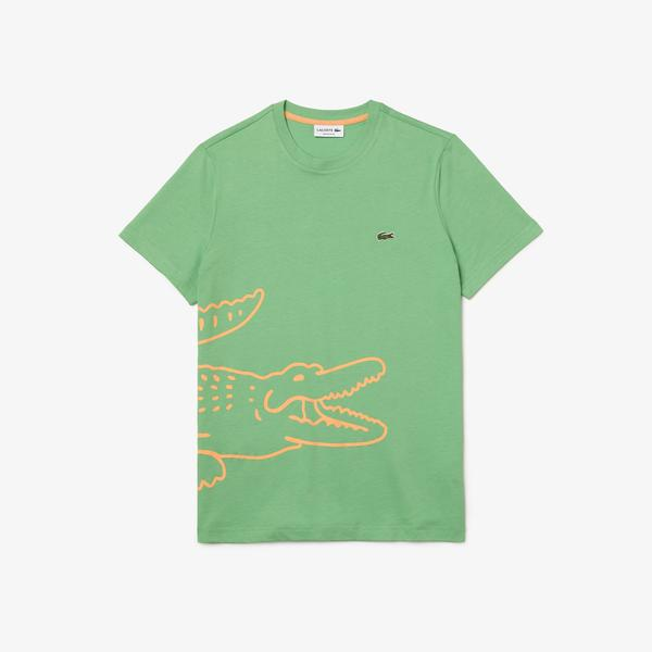 Lacoste Men's Crew Neck Crocodile Print Organic Cotton T-shirt