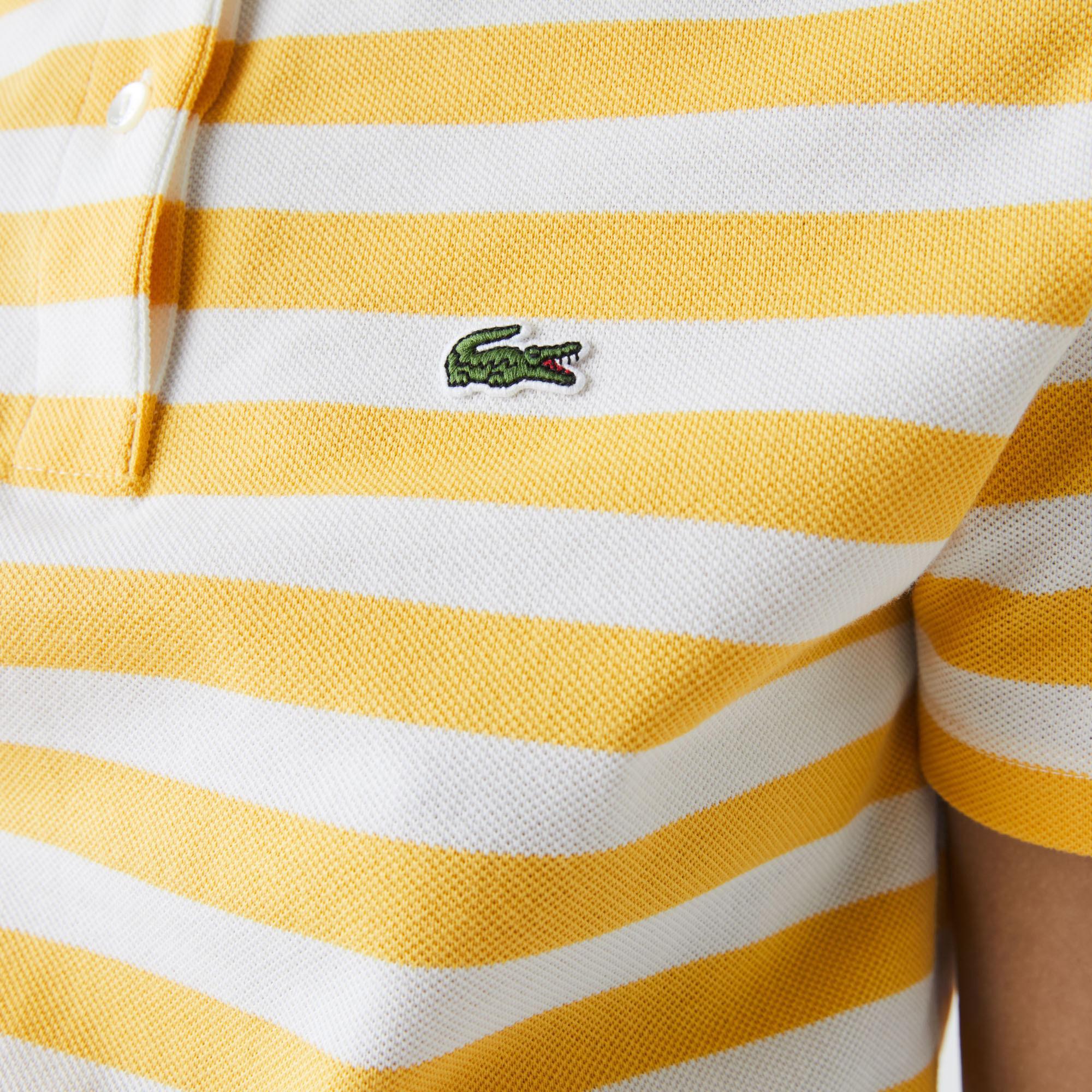 Lacoste Women's Regular Fit Mesh Collar Striped Cotton Polo Shirt
