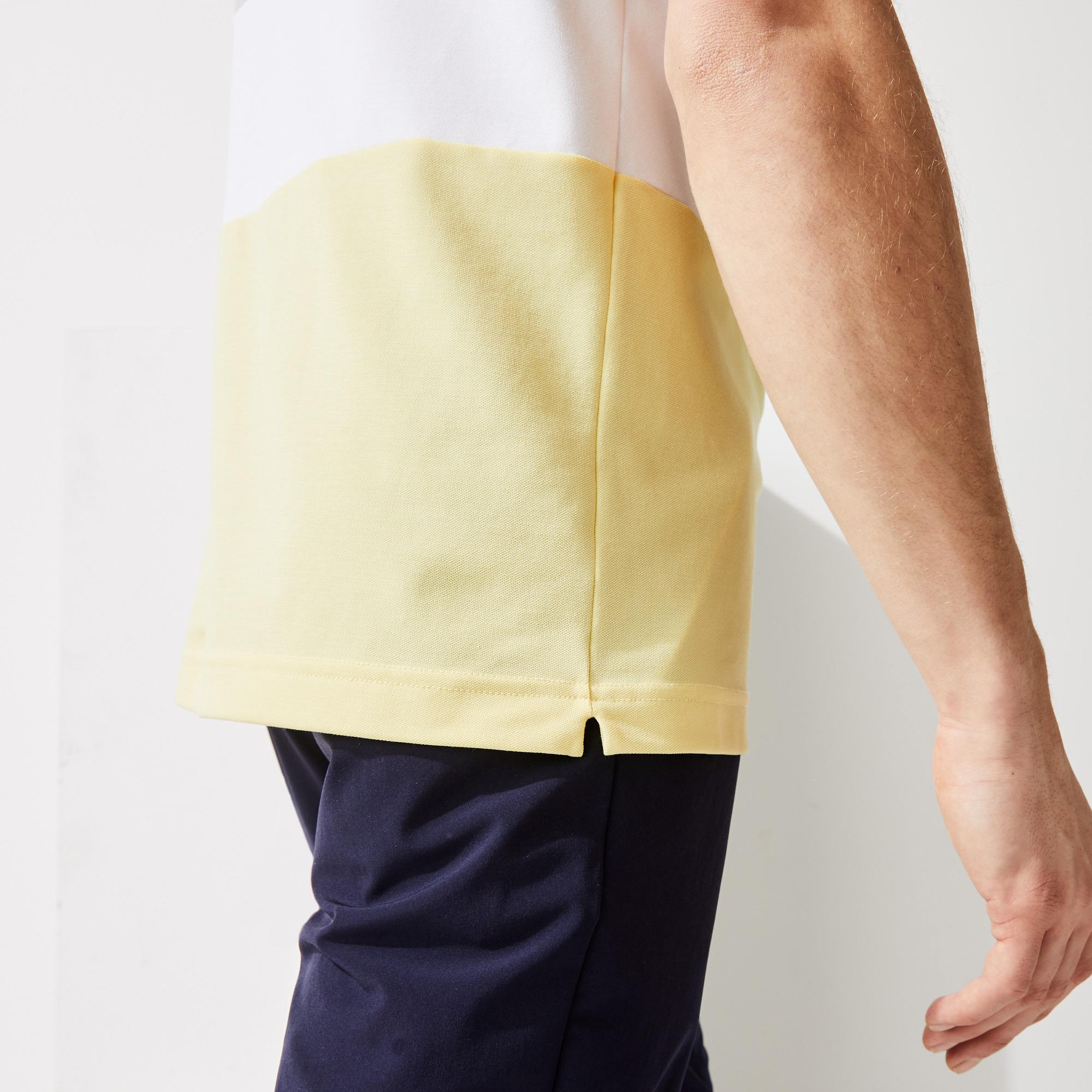 Lacoste SPORT Men's Striped Stretch Piqué Zip Golf Polo Shirt