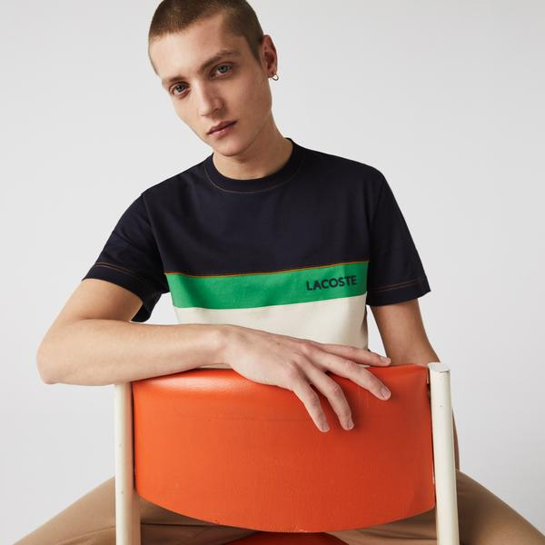 Lacoste Men's Crew Neck Lettered Colorblock Cotton T-shirt