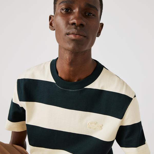 Lacoste Men's Crew Neck Wide Striped Cotton T-shirt