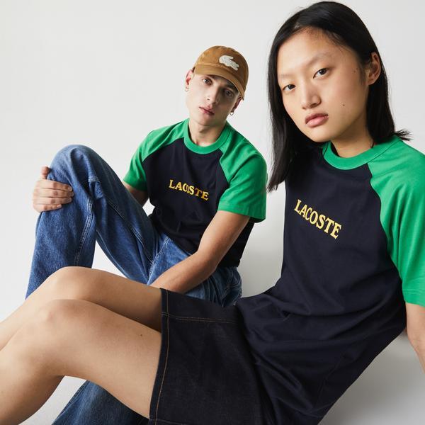 Lacoste L!VE Unisex Lettering Bicolor Cotton T-shirt
