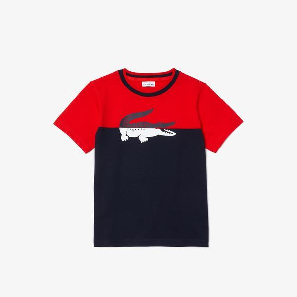 Lacoste Boys Crew Neck Crocodile Print Bicolor Cotton T-shirt