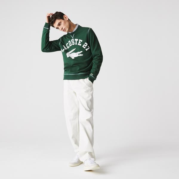 Lacoste Men's Crew Neck Lacoste 27 Print Fleece Sweatshirt