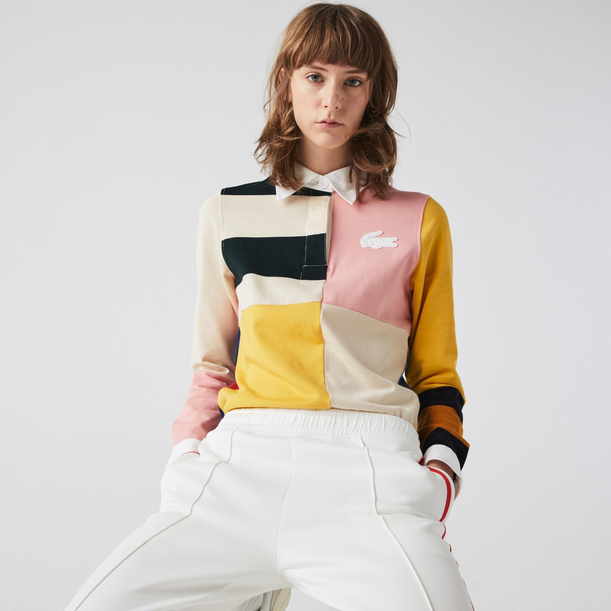 Lacoste L!VE Women's Colourblock Cotton Rugby Style Polo Shirt