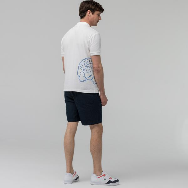 Lacoste Men's Bermuda Shorts With Fine Stripes Made Of A Cotton And Linen Blend