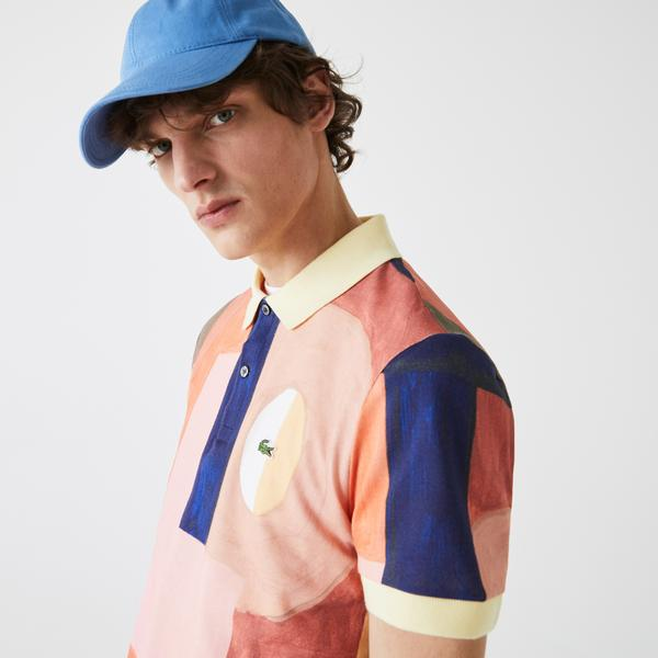 Lacoste Men's Regular Fit Paint Print Cotton Piqué Polo Shirt