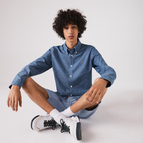 Lacoste Men's Slim Fit Cotton Chambray Shirt